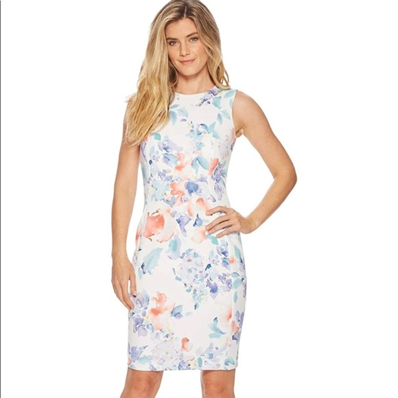 0127e45bb991 Calvin Klein Dresses | Watercolor Floral Scuba Sheath Dress | Poshmark